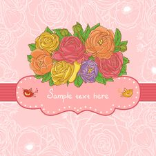 Free Hand Drawn Vector Floral Frame Royalty Free Stock Images - 26867029