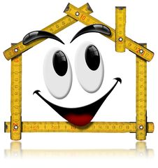 Free House Smiling - Wood Meter Tool Stock Photography - 26867392