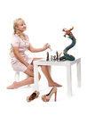 Free Girl Playing Chess With A Decorative Dragon Royalty Free Stock Images - 26872469