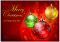 Free Color Baubles On Red Background & Text Stock Photo - 26875960