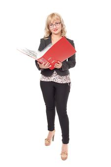 Free Woman With Red Folder For Documents Stock Photos - 26872473