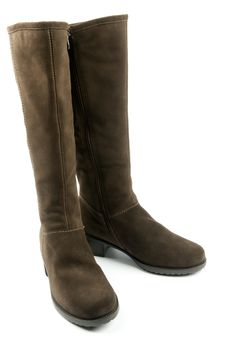 Pair Of Brown Female Boots Stock Image