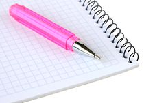 Free Pink Pen Lies On A Notebook Royalty Free Stock Photo - 26874835
