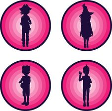 Free Badges With Silhouettes Of Kids In Halloween Suits Stock Photography - 26875232