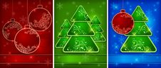 Free Background With Baubles, Trees, Snowflakes Royalty Free Stock Image - 26875956