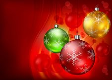 Free Color Baubles On Red Background Royalty Free Stock Photos - 26875958