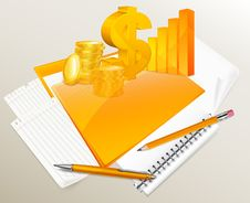 Free Stationery, Diagram, Coins And Dollar Stock Photos - 26876133