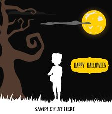 Free Halloween Kid Frankenstein Standing In Yellow Moon Royalty Free Stock Photos - 26877058