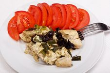 Dinner From Chicken Breast, Prunes And Tomatoes