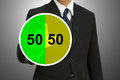 Free Business Man Touching On Pie Chart With Fifty-fift Stock Photography - 26882162