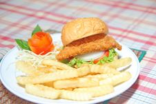 Fired Chicken Burger Royalty Free Stock Image