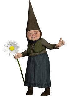 Free Gnome Girl With A Flower Royalty Free Stock Photography - 26882877