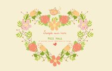 Free Greeting Card With Floral Heart Shape Royalty Free Stock Photos - 26883818