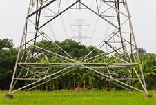 High Voltage Pylons On The Paddy Field, Thailand. Stock Images