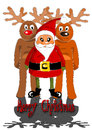Free Santa Claus With Two Reindeers Stock Photos - 26894693