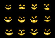 Jack-o-lantern Faces Stock Photo