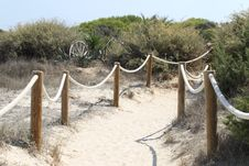 Free Elements Of Fence On The Beach Royalty Free Stock Photography - 26891587