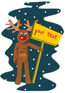 Free Reindeer With Table For Your Text Stock Photo - 26894940
