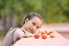 Free Portrait Of Girl With Apples Stock Photography - 26897792