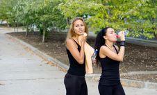 Free Women Athletes Taking A Break During Training Stock Photos - 26897903