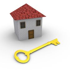 Free House With Key In Front Of It Royalty Free Stock Image - 26899756