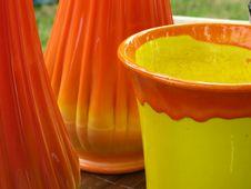 Orange Groove Glass Vase Royalty Free Stock Photography