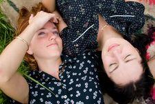 Free Girls Lying On Meadow Stock Photos - 2693363