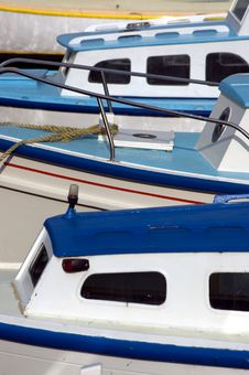 Free Blue And White Fishing Boats Royalty Free Stock Images - 2698859