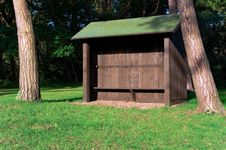 Wooden Shelter On Golf Couse Stock Photo