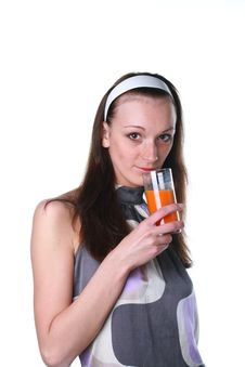 Woman With Carrots Juice Stock Image