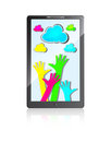 Free Mobile Phone With Hands And Colorful Clouds Royalty Free Stock Photography - 26916597