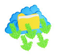 Free Blue Clouds With Folder And Green Download Arrows Stock Photography - 26916852