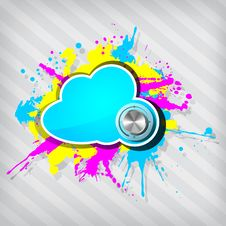 Cute Grunge Cloud Computing Icon Frame With Knob Stock Photography