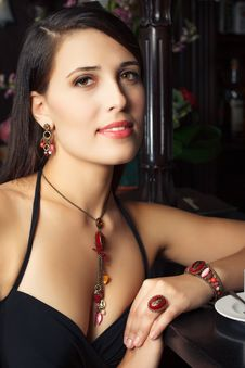 Free Elegant Young Woman In Bar Stock Photo - 26917570