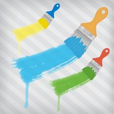 Free Flat Brushes With Paint S Splashes Royalty Free Stock Photography - 26917577