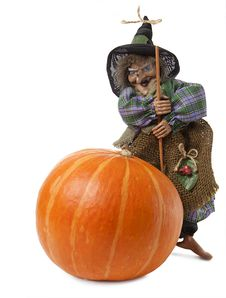 Halloween S Witch And Pumpkin Stock Photo