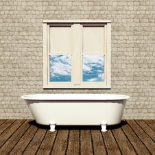 Free Old Style Bathtub In A Retro Bathroom Royalty Free Stock Images - 26925169