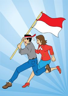 Indonesian Couple And Flag Royalty Free Stock Images