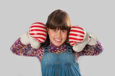 Free Cheerful Girl With A Boxing Gloves Royalty Free Stock Image - 26926426