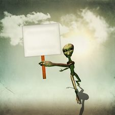 Alien With Board Royalty Free Stock Photo