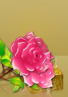 Free Pink Roses And Gift Box Royalty Free Stock Photography - 26930147
