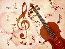 Free Rose Pentals And Violin Stock Photo - 26930200