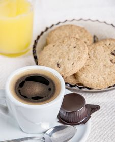 Chocolate Chip Cookies With Cup Of Coffee Stock Photo