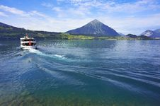 Passenger Boat, Lake Thun, Switzerland Stock Photo