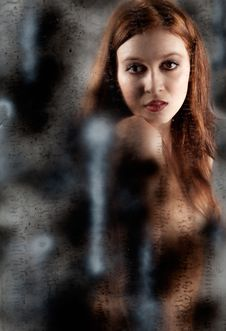 Nude Woman Behind Spray Painted Glass Royalty Free Stock Images