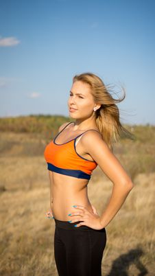 Attractive Blonde Athletic Woman Stock Photography