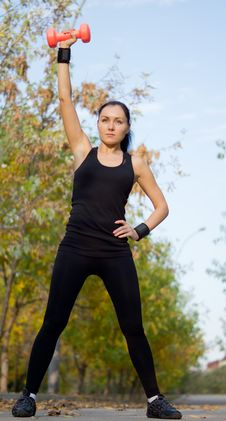 Free Fit Athletic Woman Exercising With A Dumbbell Stock Image - 26949421