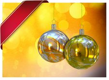 Free Christmas Balls Card Royalty Free Stock Image - 26955626