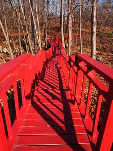 Free Red Bridge In The Forest &x28;fall&x29; Royalty Free Stock Photos - 26957488