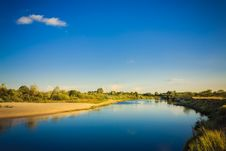 Free Wide Panorama Of A River And The Forest Royalty Free Stock Photo - 26958625
